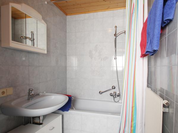 Auf dem Bild sieht man das Badezimmer mit Dusche und WC der Wohnung Typ C.