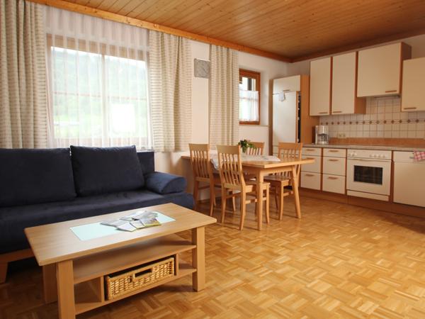 Auf dem Bild sieht man ein Wohnzimmer/Küche für 4-6 Personen mit Eßtisch und Ausziehbarer Couch